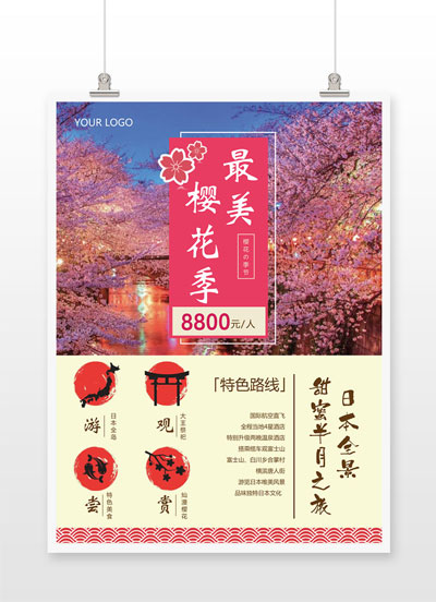 最美樱花季特色路线旅游海报